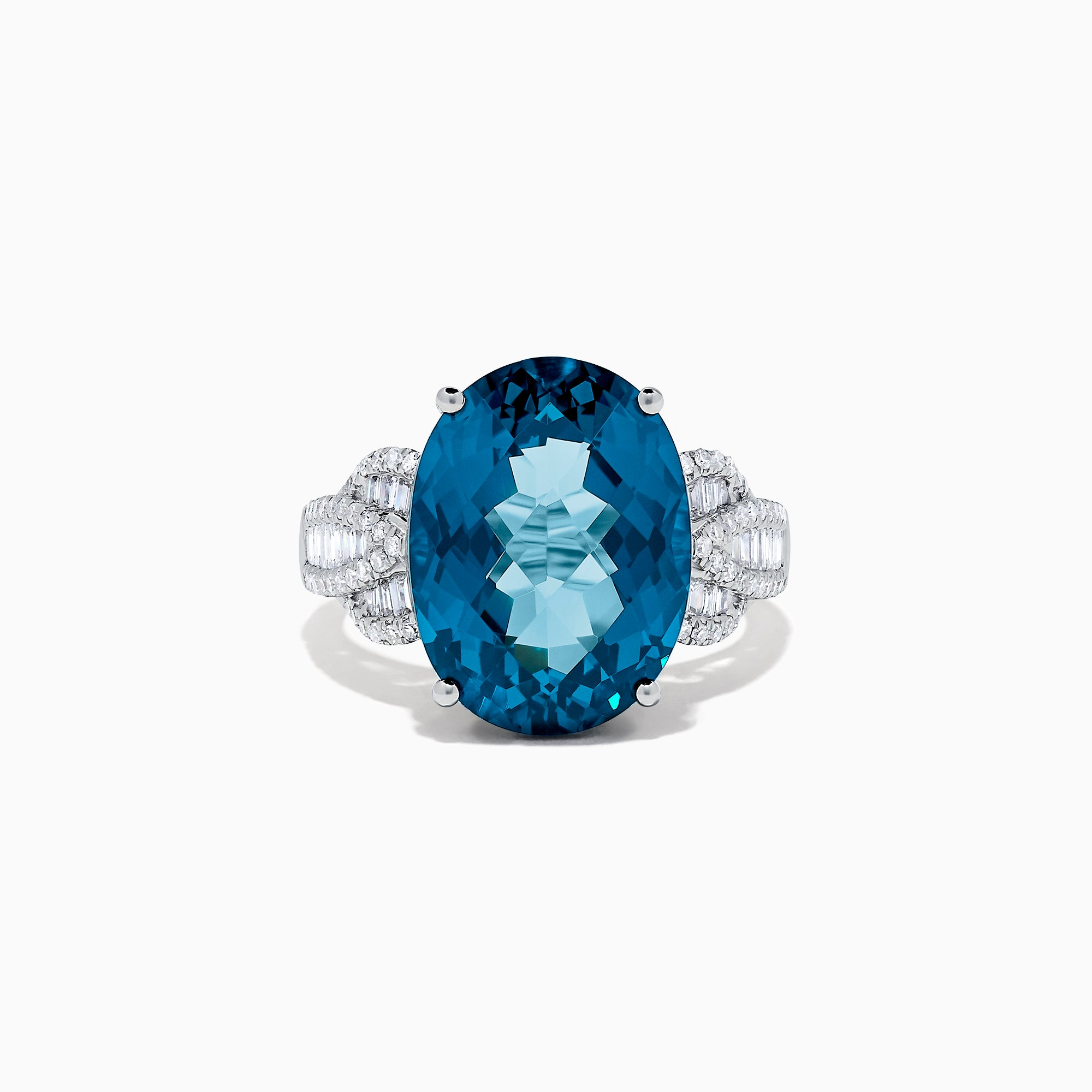 Effy Ocean Bleu 14K Gold London Blue Topaz and Diamond Ring, 11.35 TCW