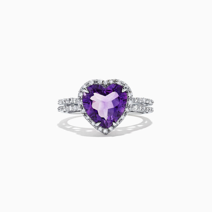 Effy 14K White Gold Amethyst and Diamond Heart Ring, 2.62 TCW