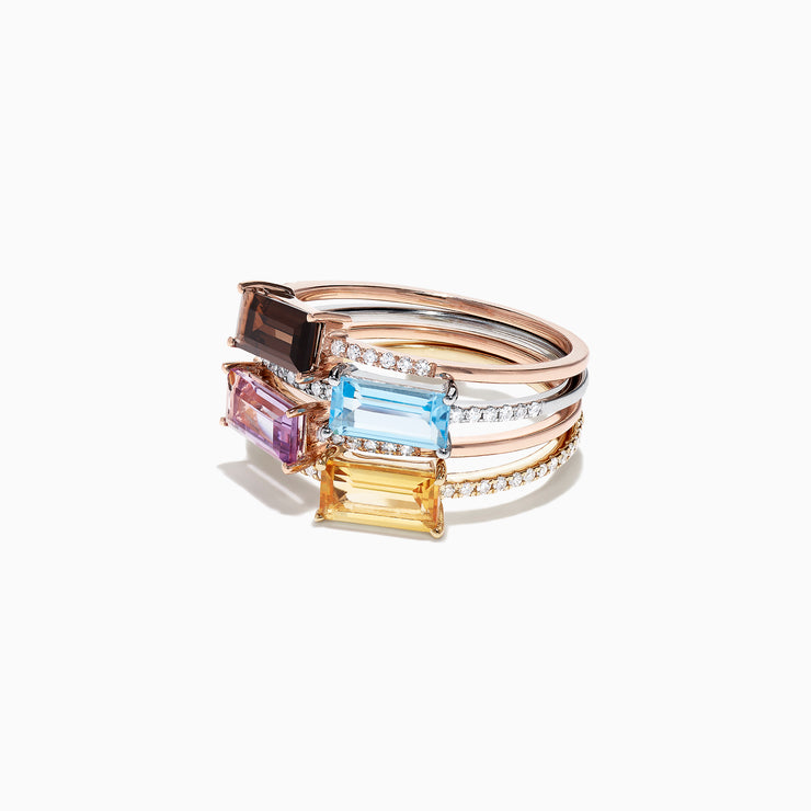 Effy 14K Tri Color Gold Multi Gemstone & Diamond 4 Band Ring, 2.24 TCW