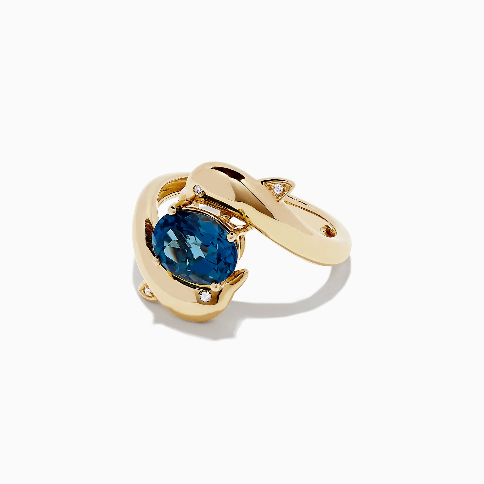 Effy 14K Yellow Gold Blue Topaz and Diamond Dolphin Ring, 2.17 TCW