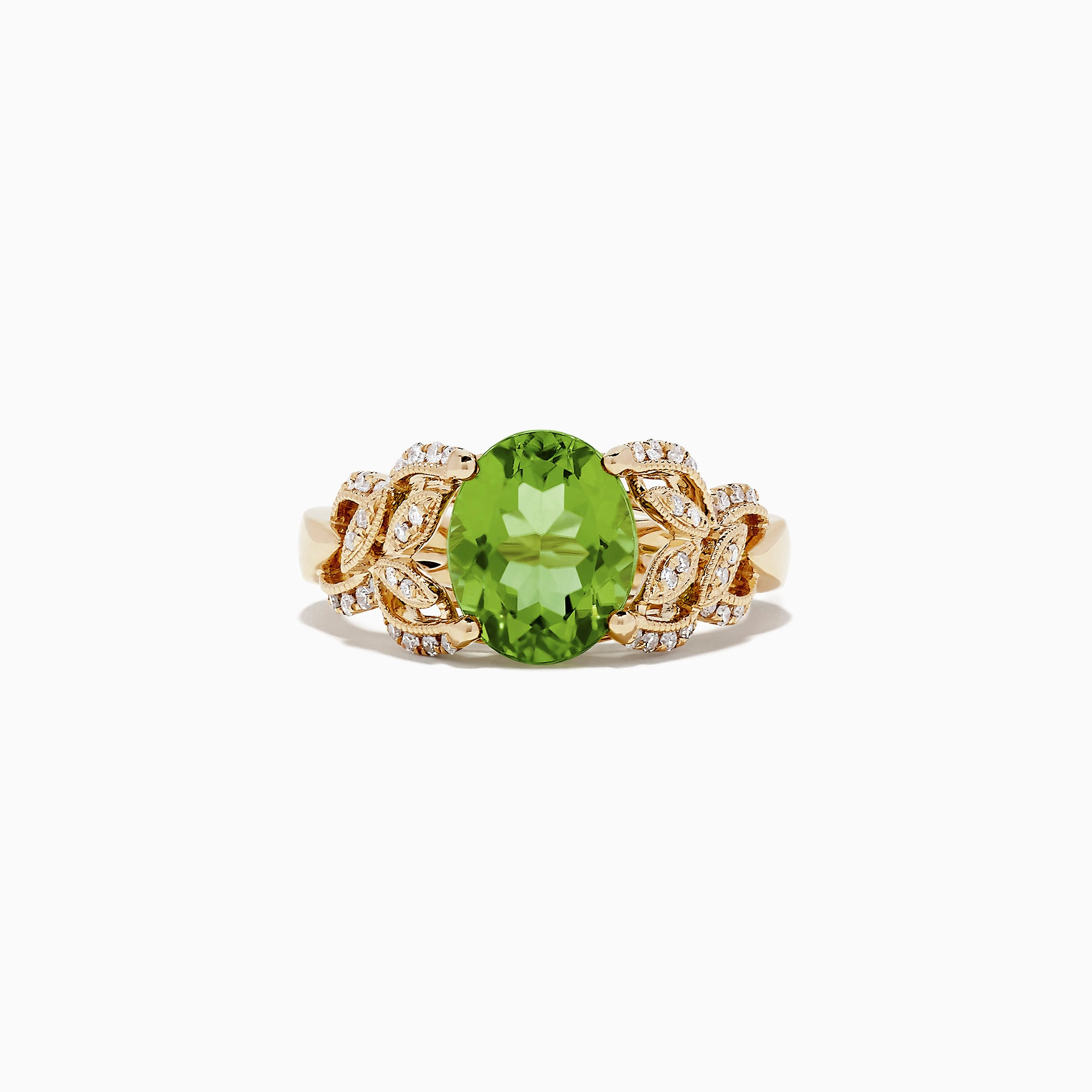 Effy 14K Yellow Gold Peridot and Diamond Ring, 3.13 TCW