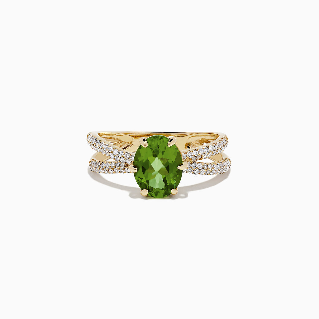 Effy 14K Yellow Gold Peridot and Diamond Ring, 2.30 TCW