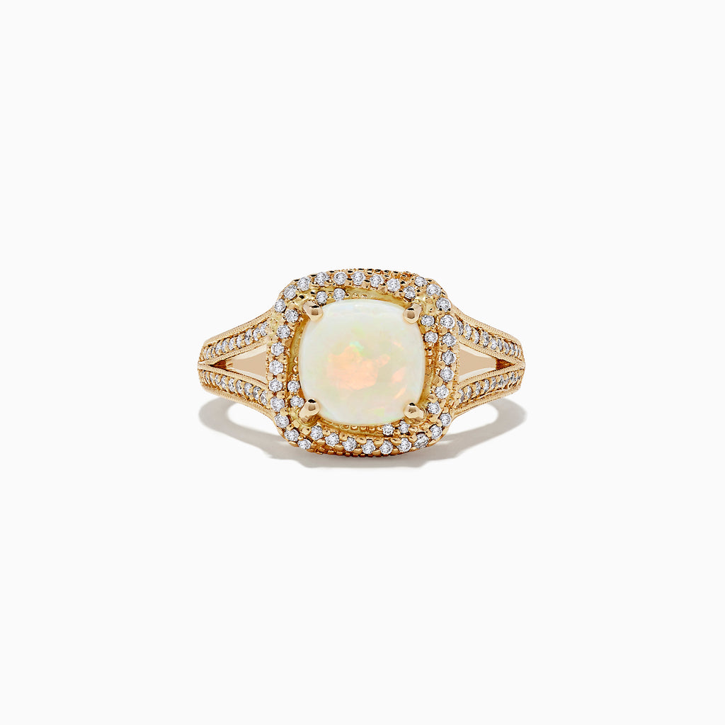 Effy Aurora 14K Yellow Gold Opal and Diamond Ring, 1.52 TCW