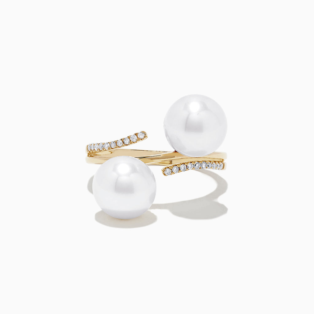 Effy 14K Yellow Gold Cultured Pearl and Diamond Ring, 0.09 TCW