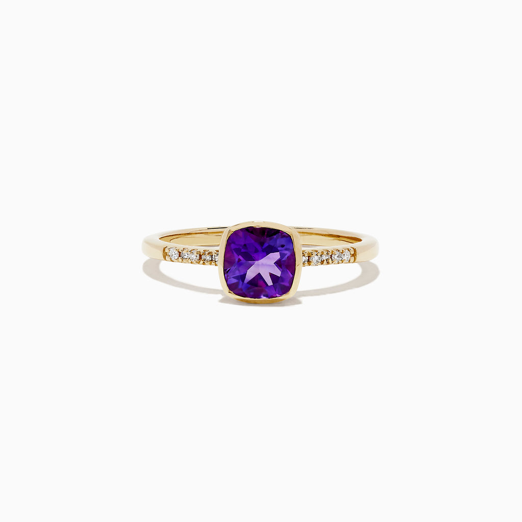 Effy 14K Yellow Gold Amethyst and Diamond Ring, 0.75 TCW