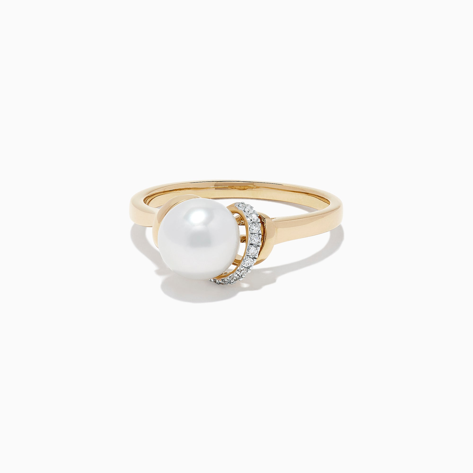 Effy 14K Yellow Gold Cultured Fresh Water Pearl and Diamond Ring, 0.04 TCW