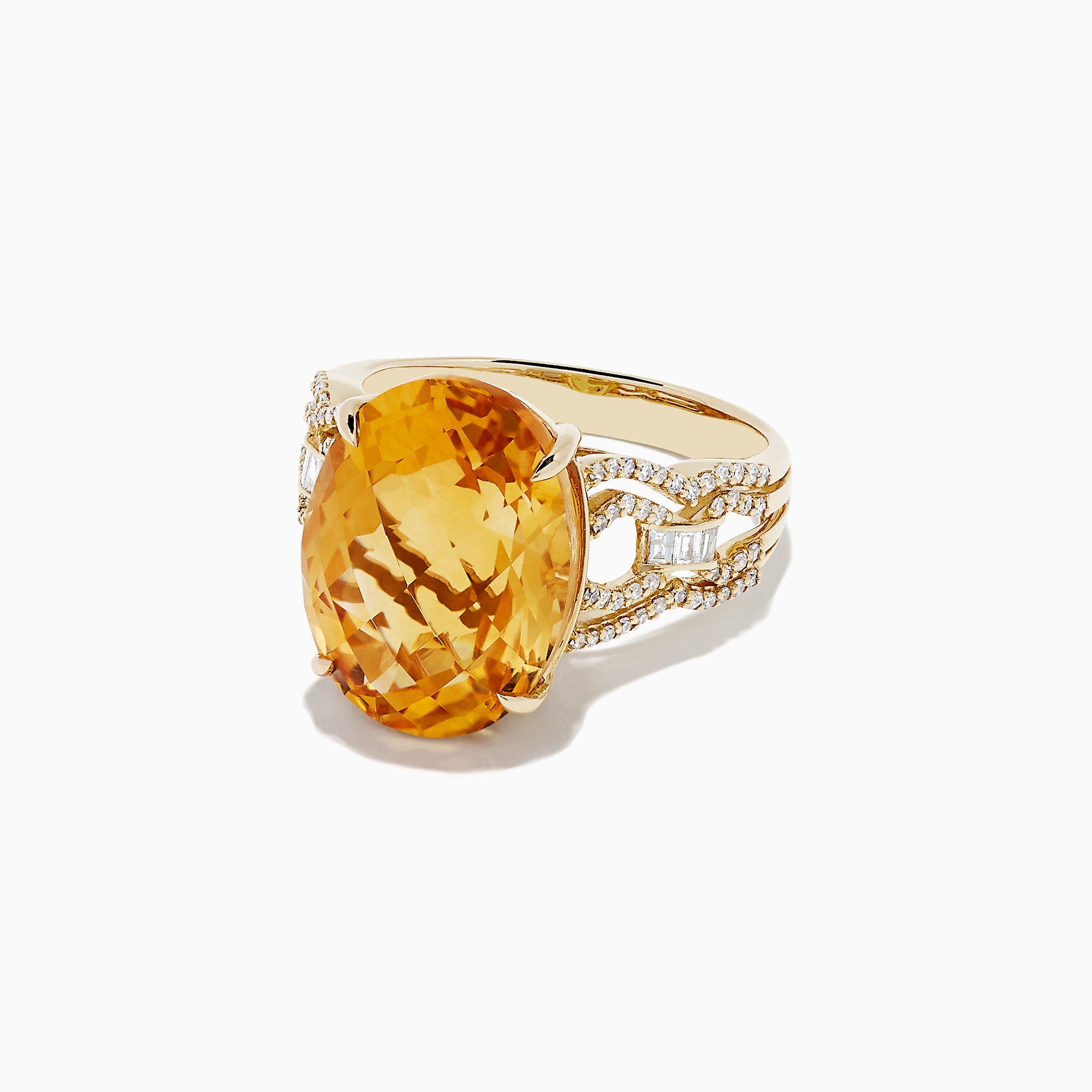Effy Sunset 14K Yellow Gold Citrine and Diamond Cocktail Ring, 9.72 TCW