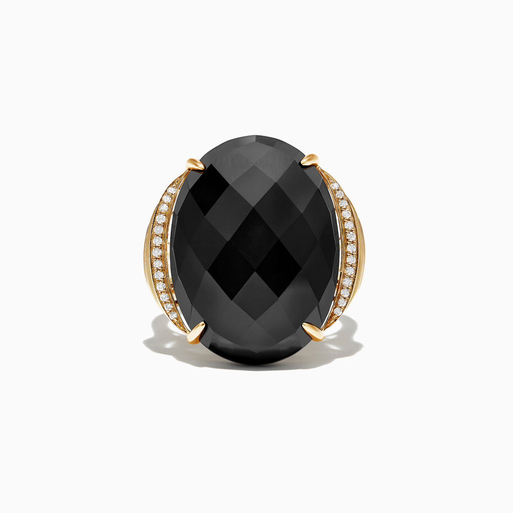 Effy Eclipse 14K Yellow Gold Onyx and Diamond Cocktail Ring, 16.88