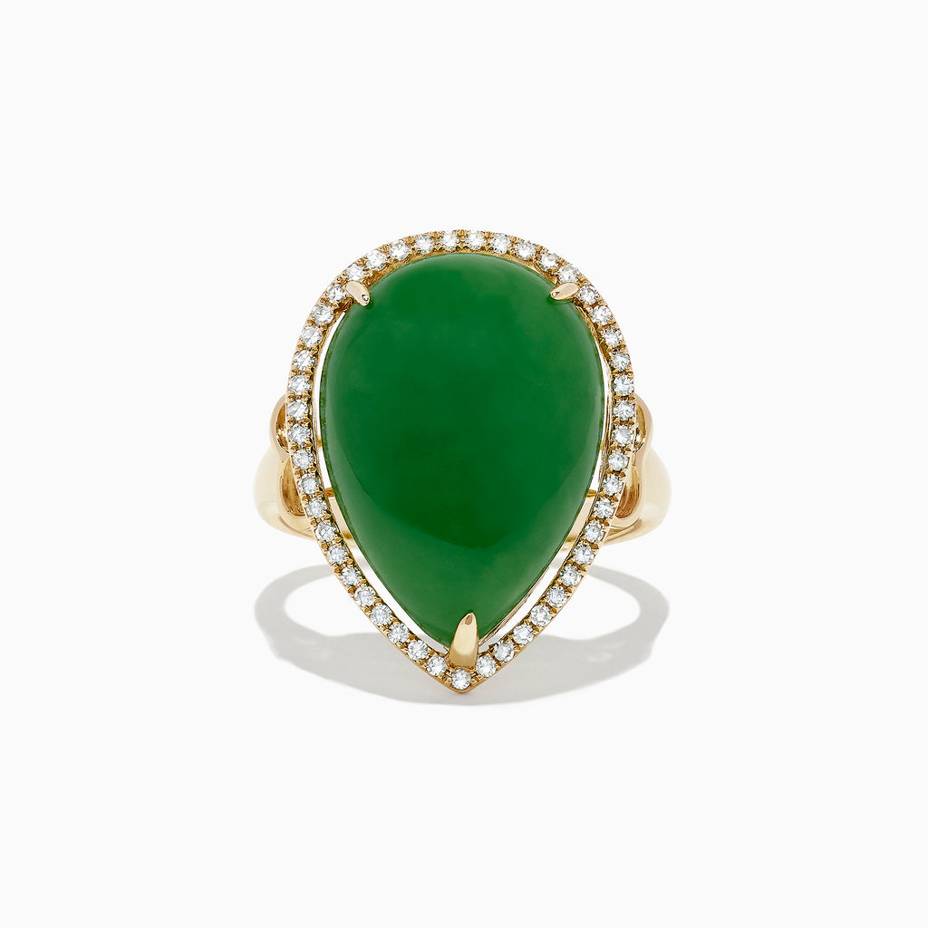 Effy 14K Yellow Gold Jade and Diamond Cocktail Ring, 14.08 TCW