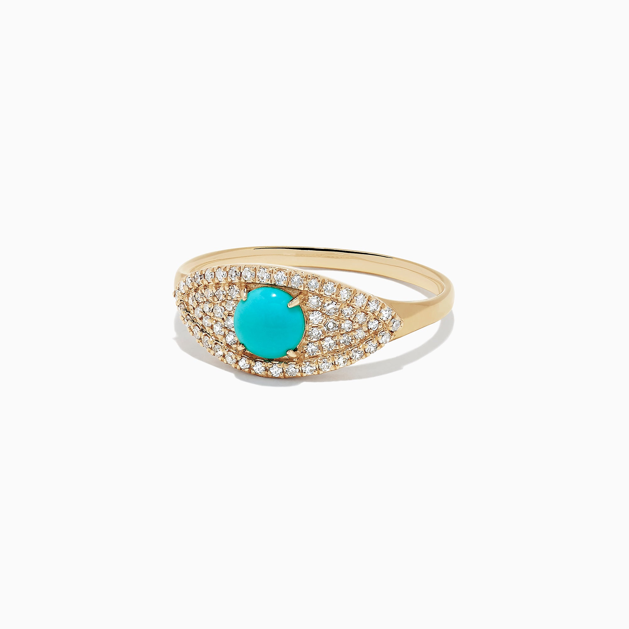 Effy Novelty 14K Yellow Gold Turquoise and Diamond Evil Eye Ring, 0.67 TCW