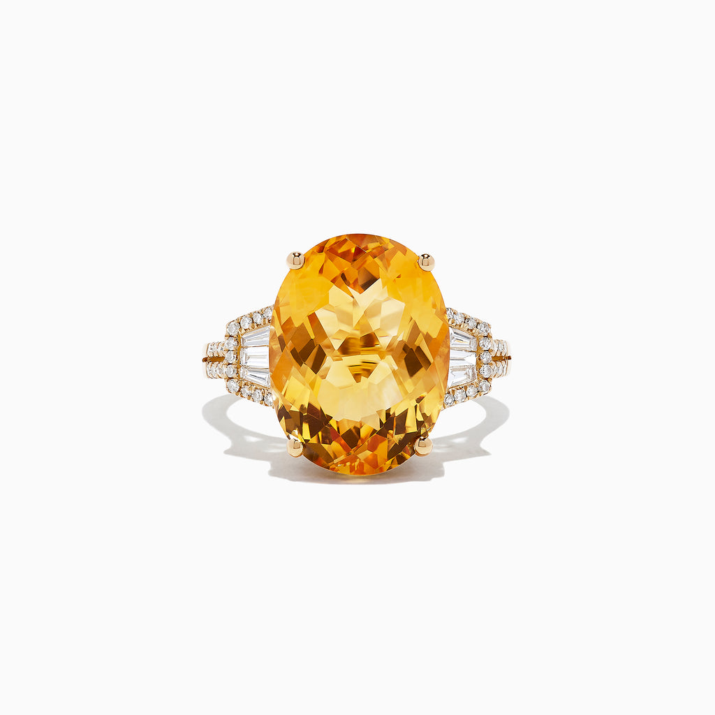 Effy Sunset 14K Yellow Gold Citrine and Diamond Ring, 9.06 TCW