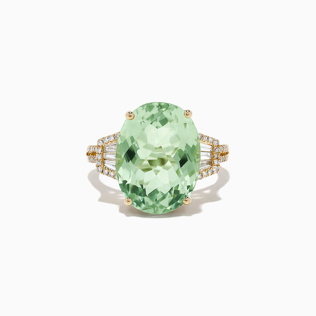 Effy 14K Yellow Gold Green Amethyst and Diamond Cocktail Ring, 9.06 TCW