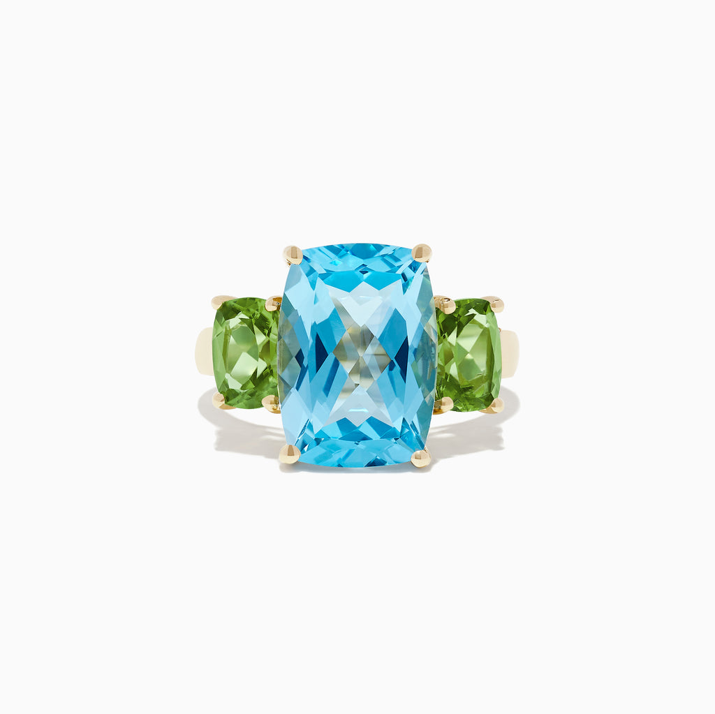 Effy Ocean Bleu 14K Yellow Gold Blue Topaz and Peridot Ring, 9.92 TCW