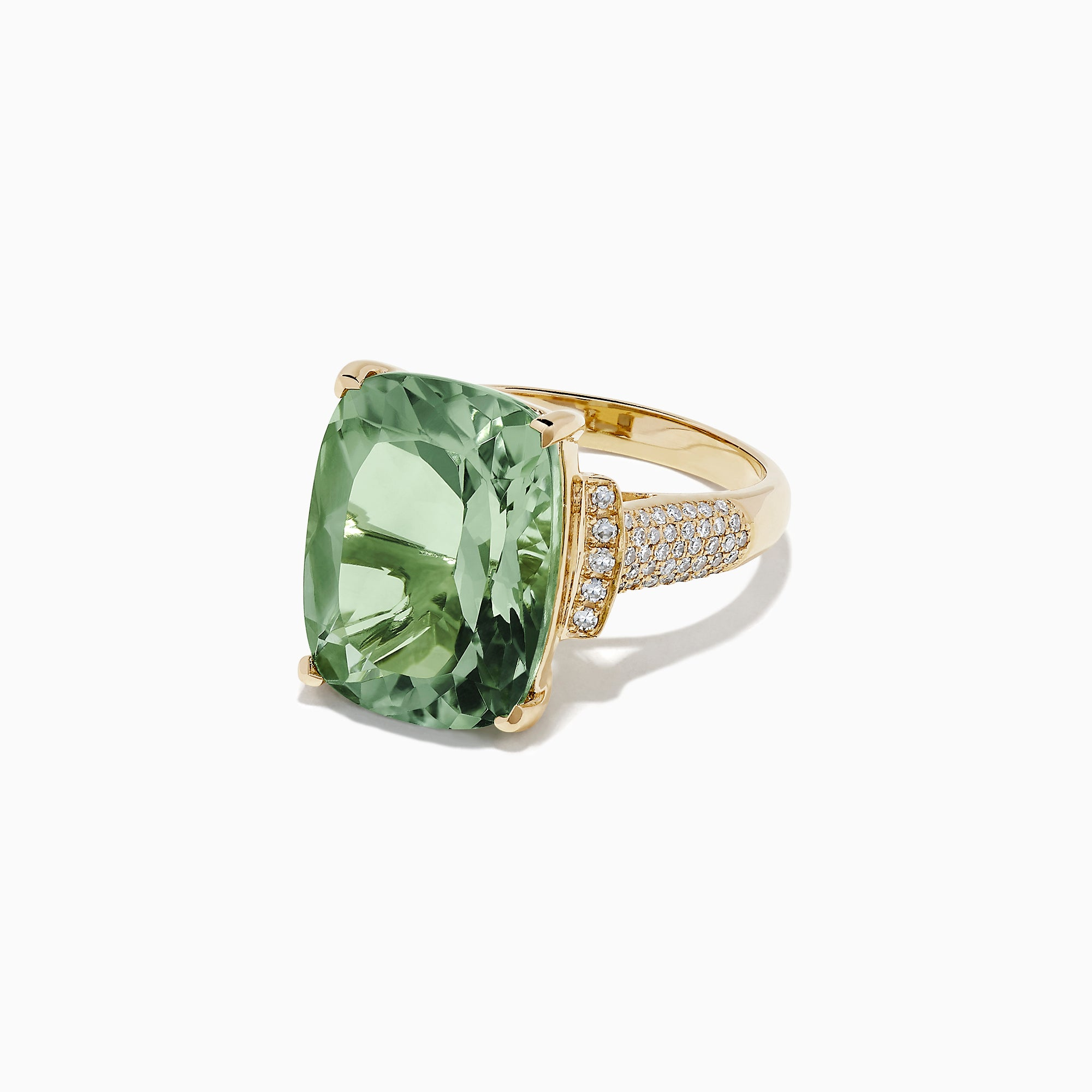Effy 14K Yellow Gold Green Amethyst and Diamond Cocktail Ring, 8.62 TCW