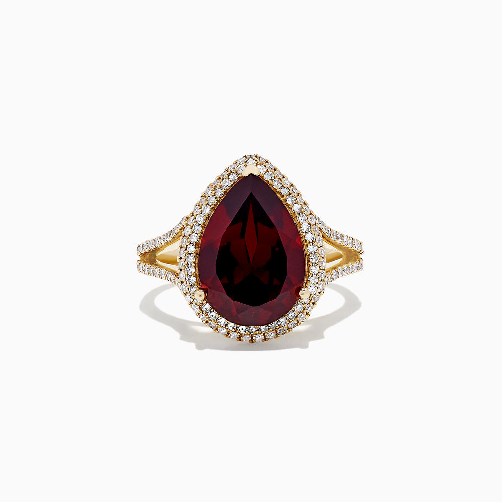 Effy Bordeaux 14K Yellow Gold Garnet and Diamond Cocktail Ring, 6.57 TCW