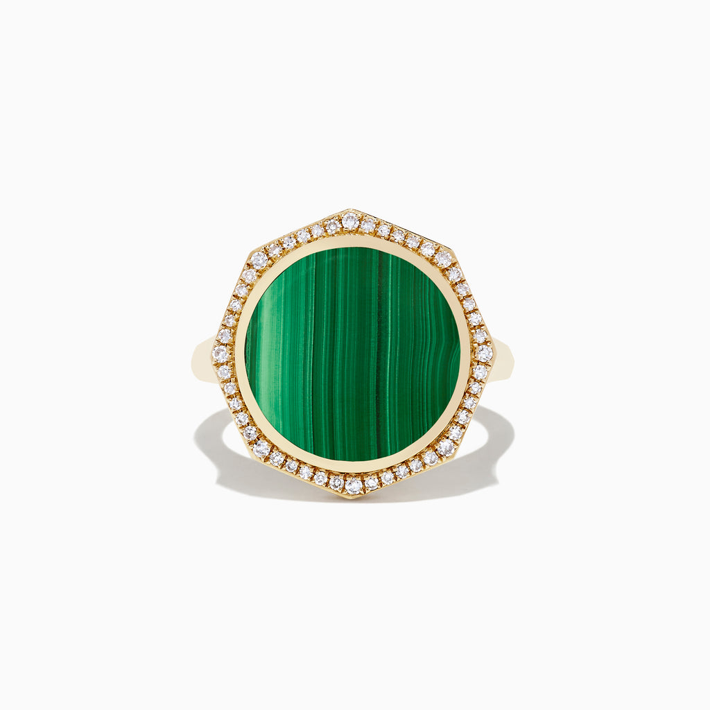 Effy 14K Yellow Gold Malachite and Diamond Ring, 7.04 TCW