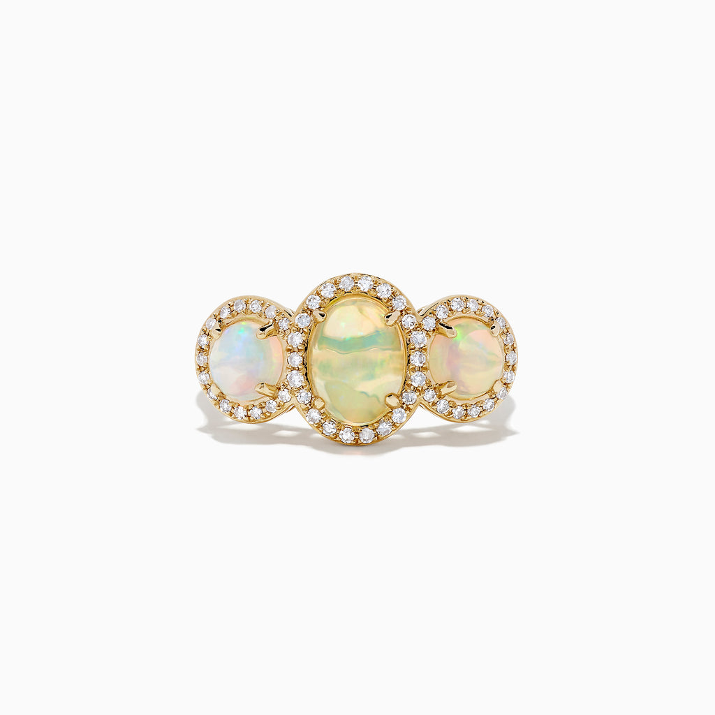 Effy Aurora 14K Yellow Gold Three Stone Opal and Diamond Ring, 2.39 TCW