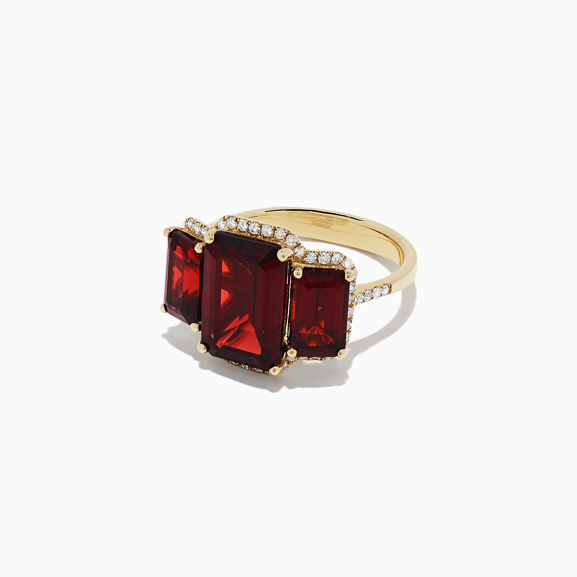 Effy Bordeaux 14K Yellow Gold Garnet and Diamond Three Stone Ring, 8.62 TCW