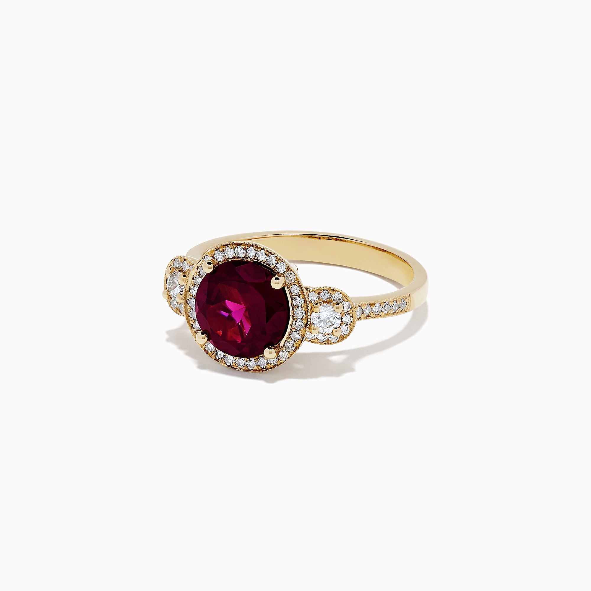 Effy Bordeaux 14K Yellow Gold Rhodolite Garnet and Diamond Ring, 2.14 TCW