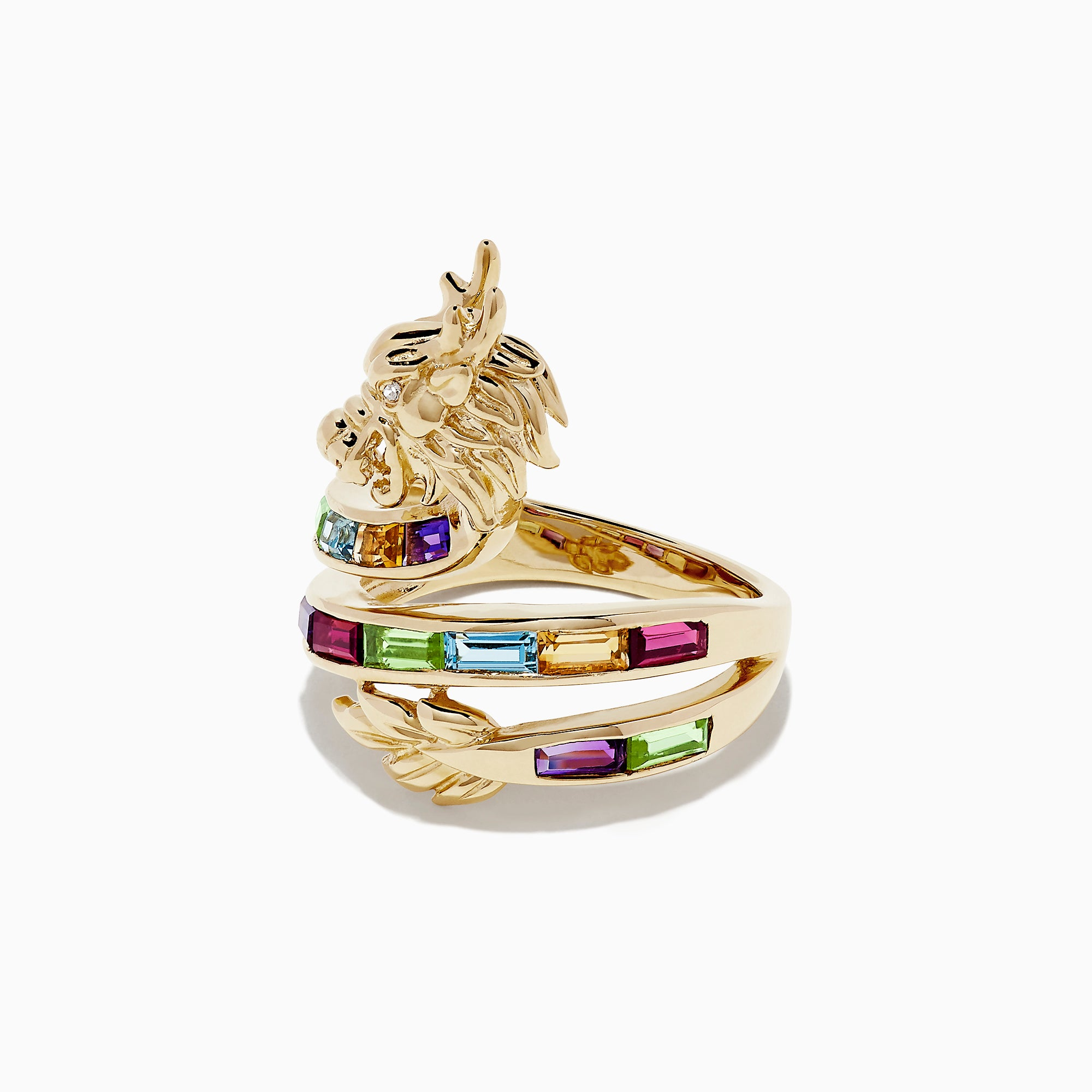 Effy Safari 14K Yellow Gold Multi Gemstone Dragon Ring, 1.51 TCW