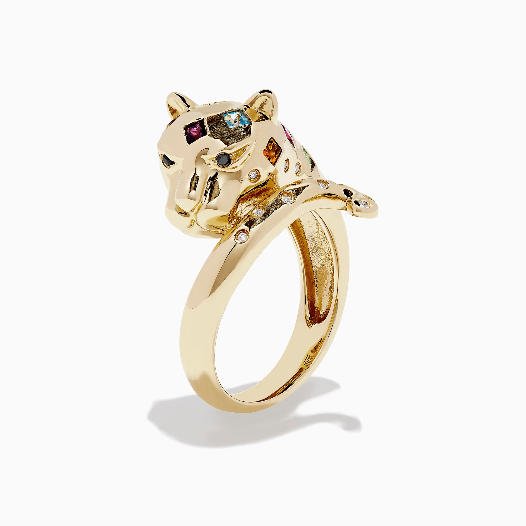 Effy Signature 14K Gold Multi Gemstone and Diamond Panther Ring, 0.63 TCW