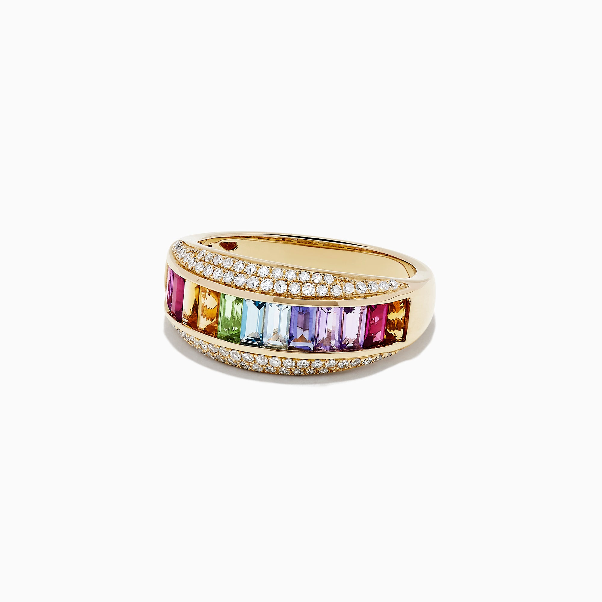 Effy Mosaic 14K Yellow Gold Multi Gemstone and Diamond Ring, 1.35 TCW