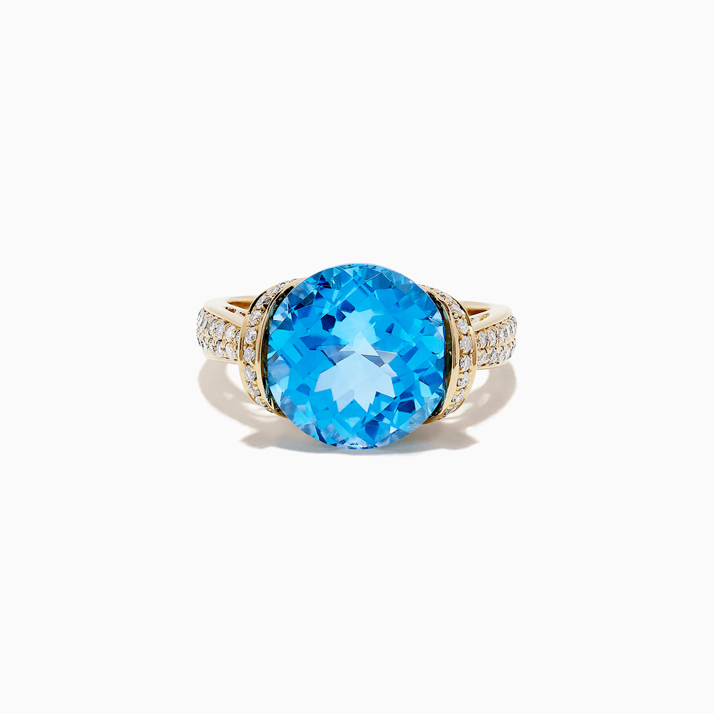Effy Ocean Bleu 14K Yellow Gold Blue Topaz and Diamond Ring, 6.88 TCW