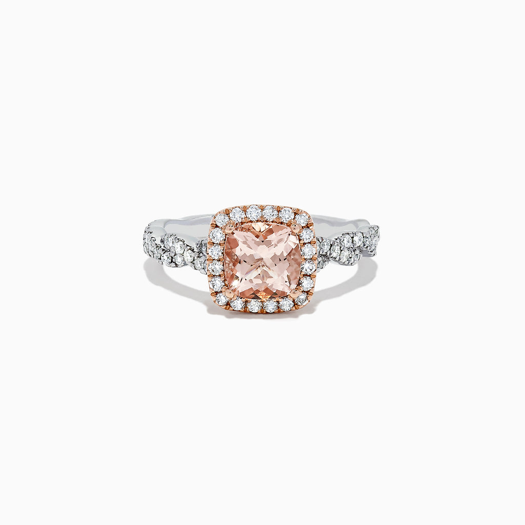 Effy Blush 14K Two Tone Gold Morganite and Diamond Ring, 1.60 TCW