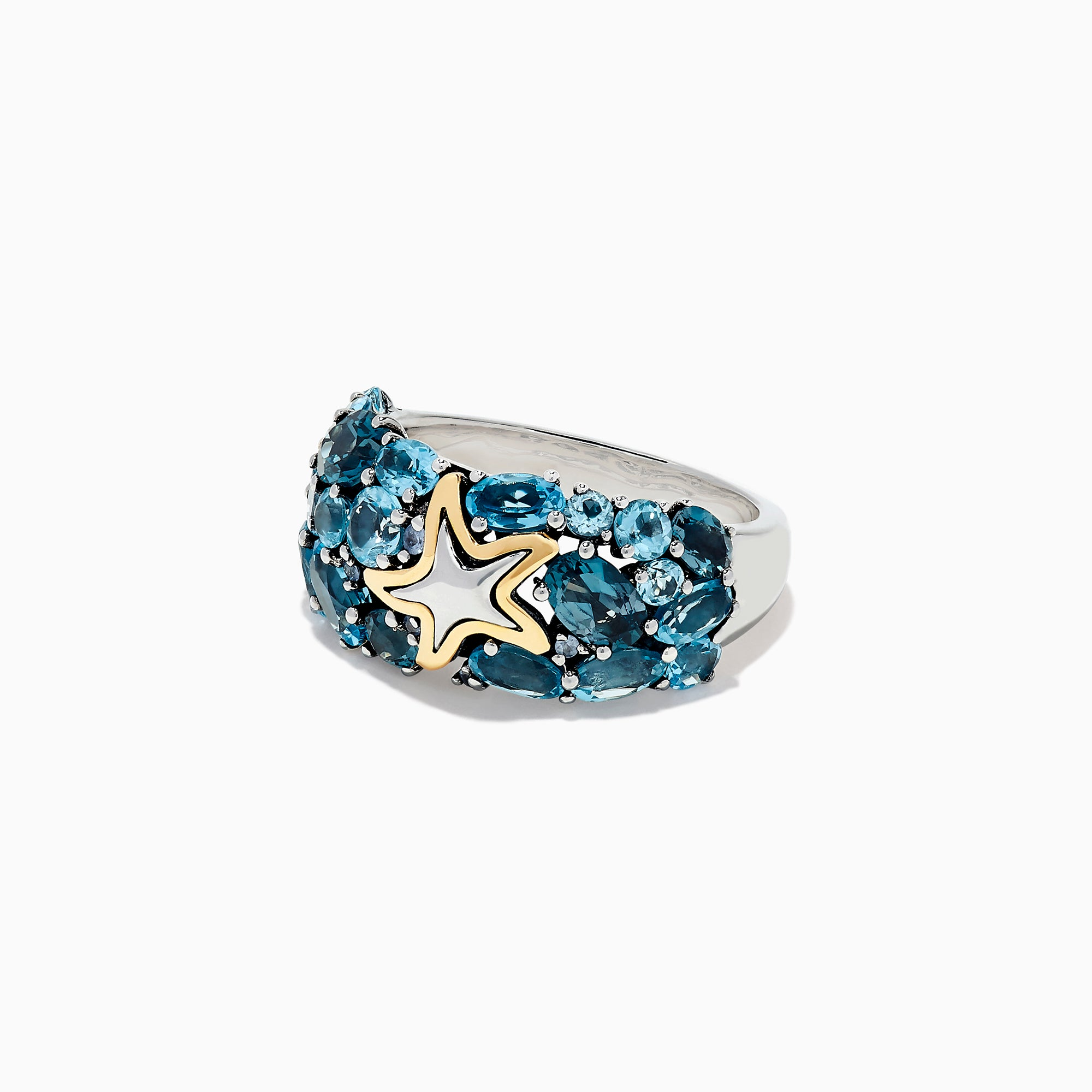 Effy Seaside Silver and 18K Gold Blue Topaz Starfish Ring, 6.70 TCW