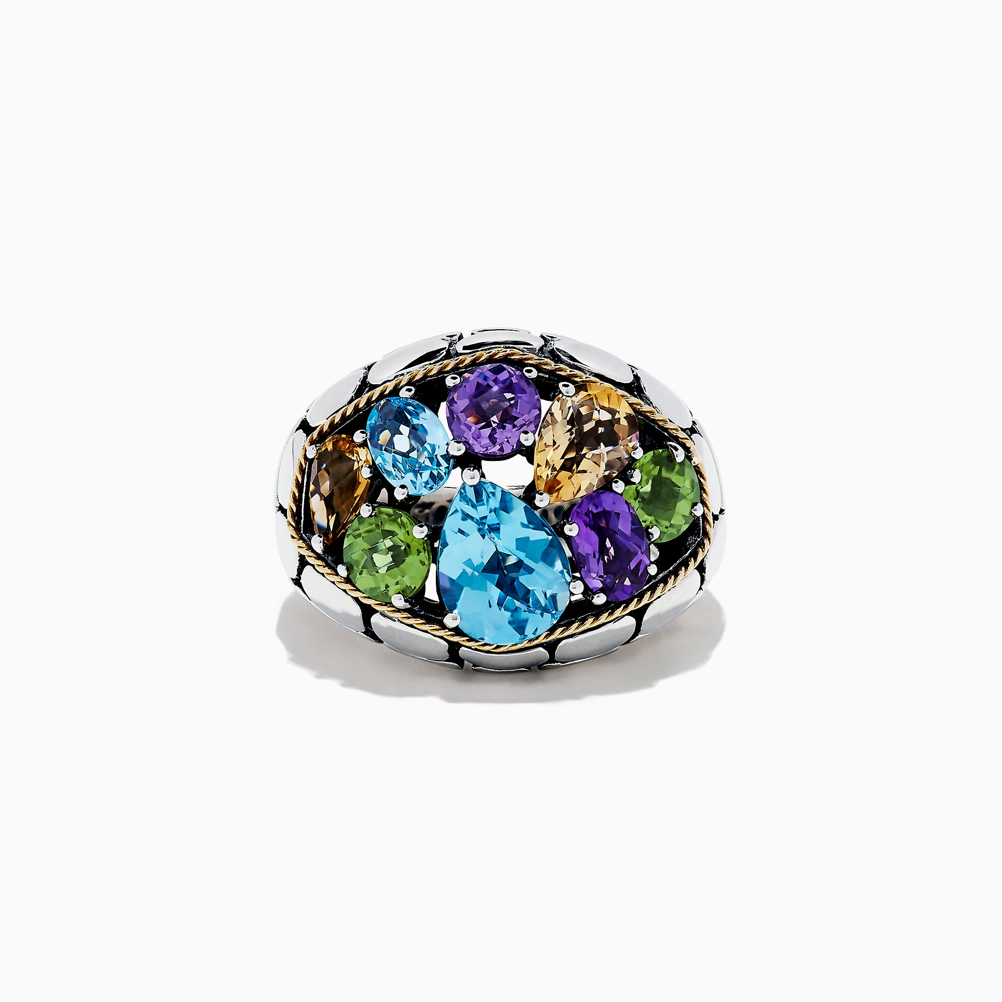 Effy 925 Sterling Silver & 18K Gold Multi Gemstone Ring, 6.25 TCW