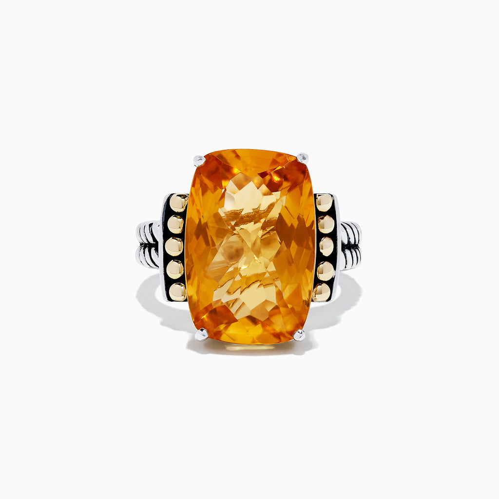 Effy 925 Sterling Silver & 18K Gold Citrine Ring, 11.85 TCW