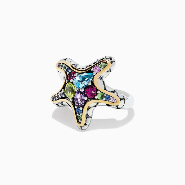 Effy Seaside Sterling Silver 18K Gold Multi Gemstone Starfish Ring, 2.14 TCW