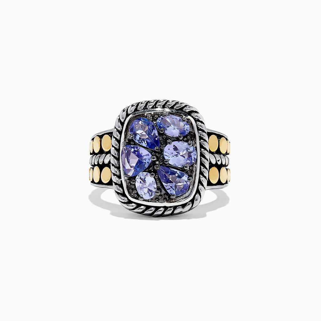 Effy Tanzanite Royale Silver & 18K Gold Tanzanite Ring, 1.85 TCW