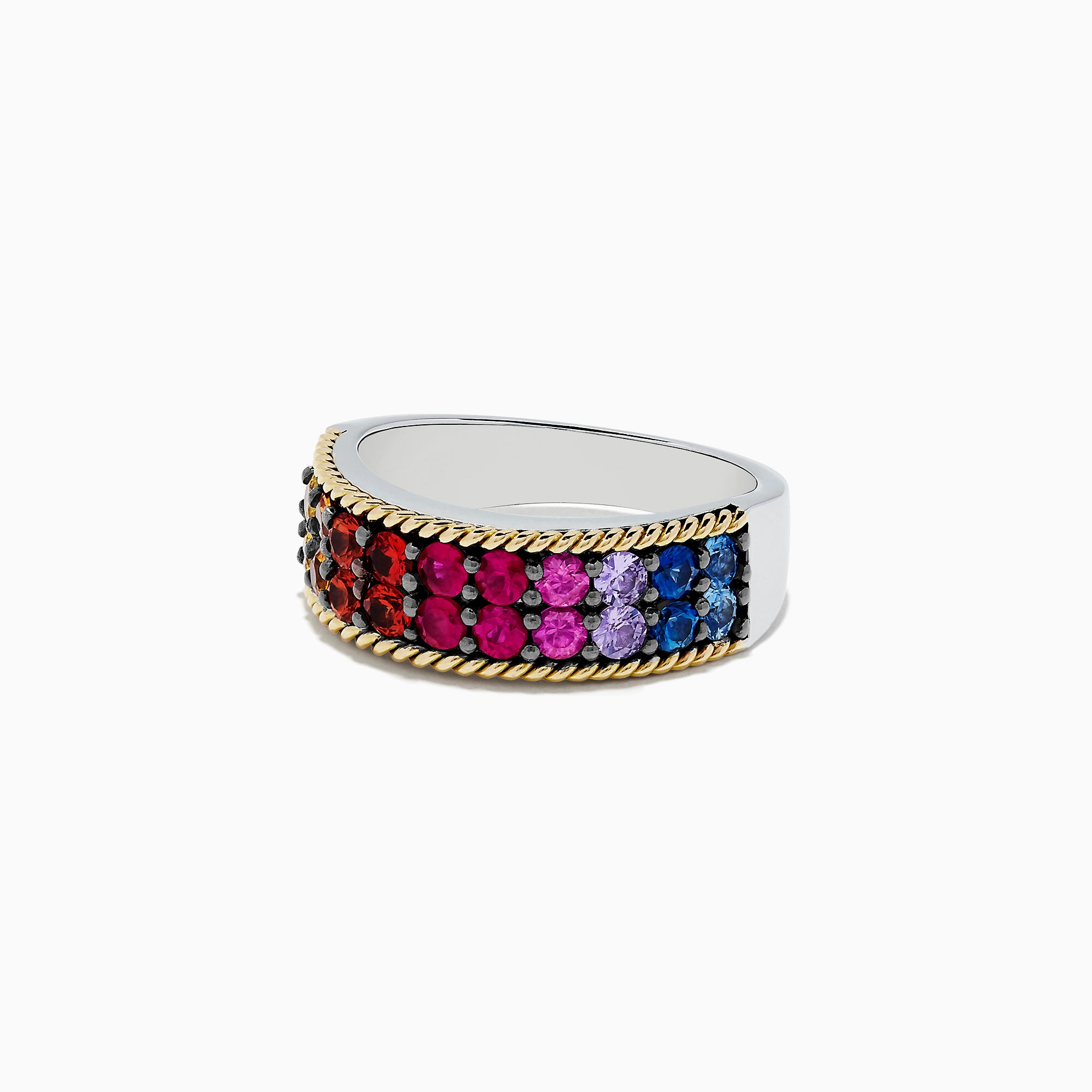 Effy Mosaic Sterling Silver & 18K Gold Multi Sapphire Ring,  1.70 TCW