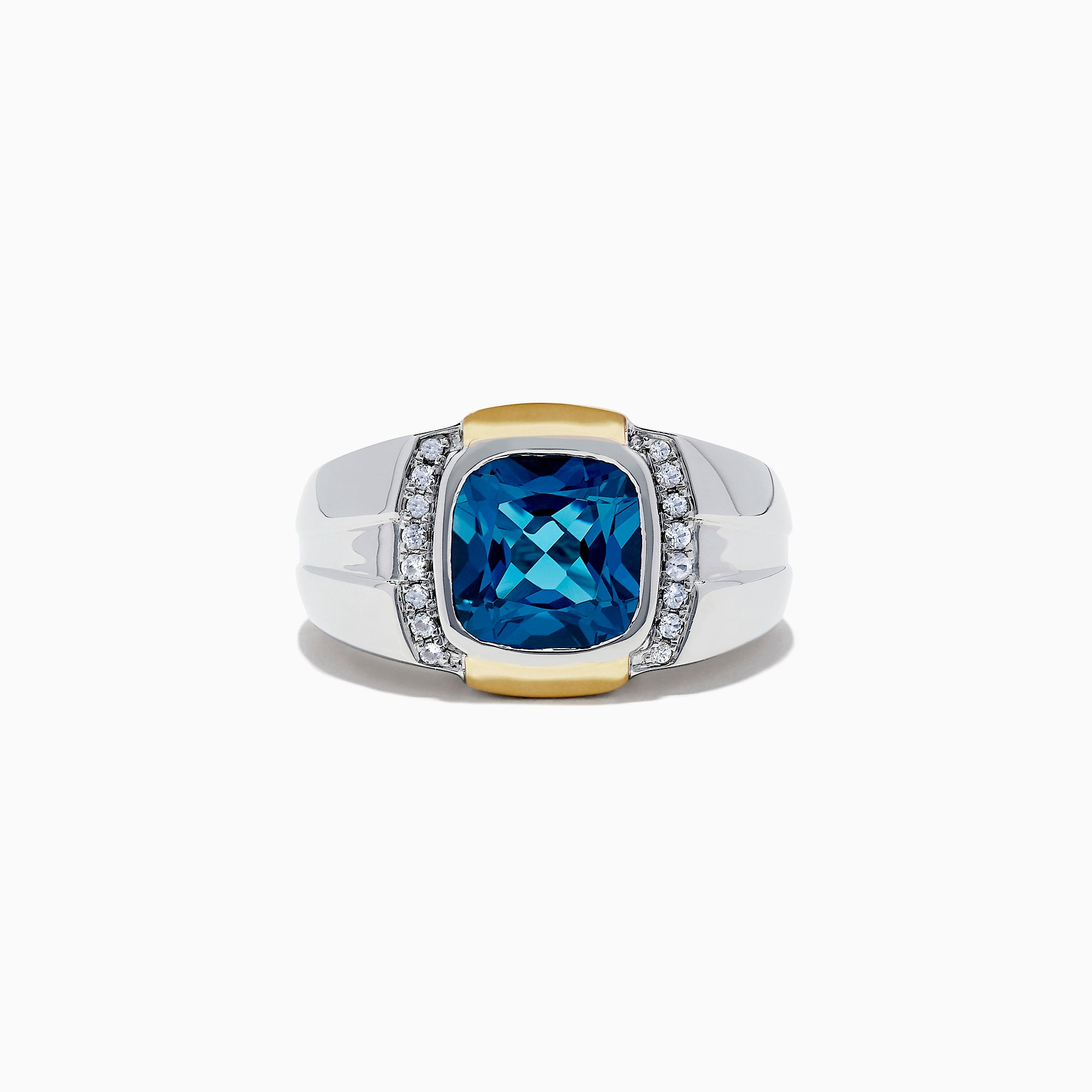 Effy Men's Sterling Silver Blue Topaz and White Sapphire Ring, 5.32 TCW