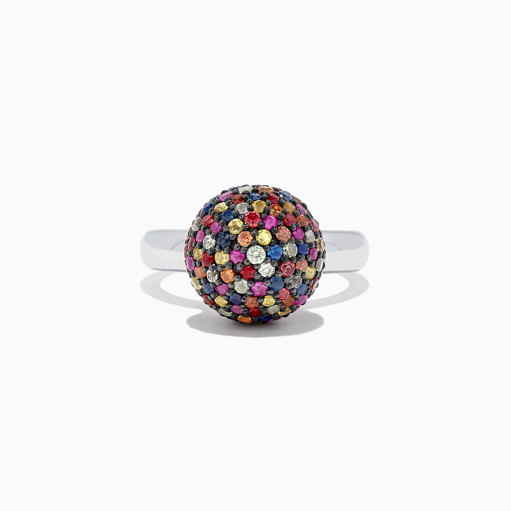 Effy Splash Sterling Silver Multi Color Sapphire Ball Ring, 2.69 TCW