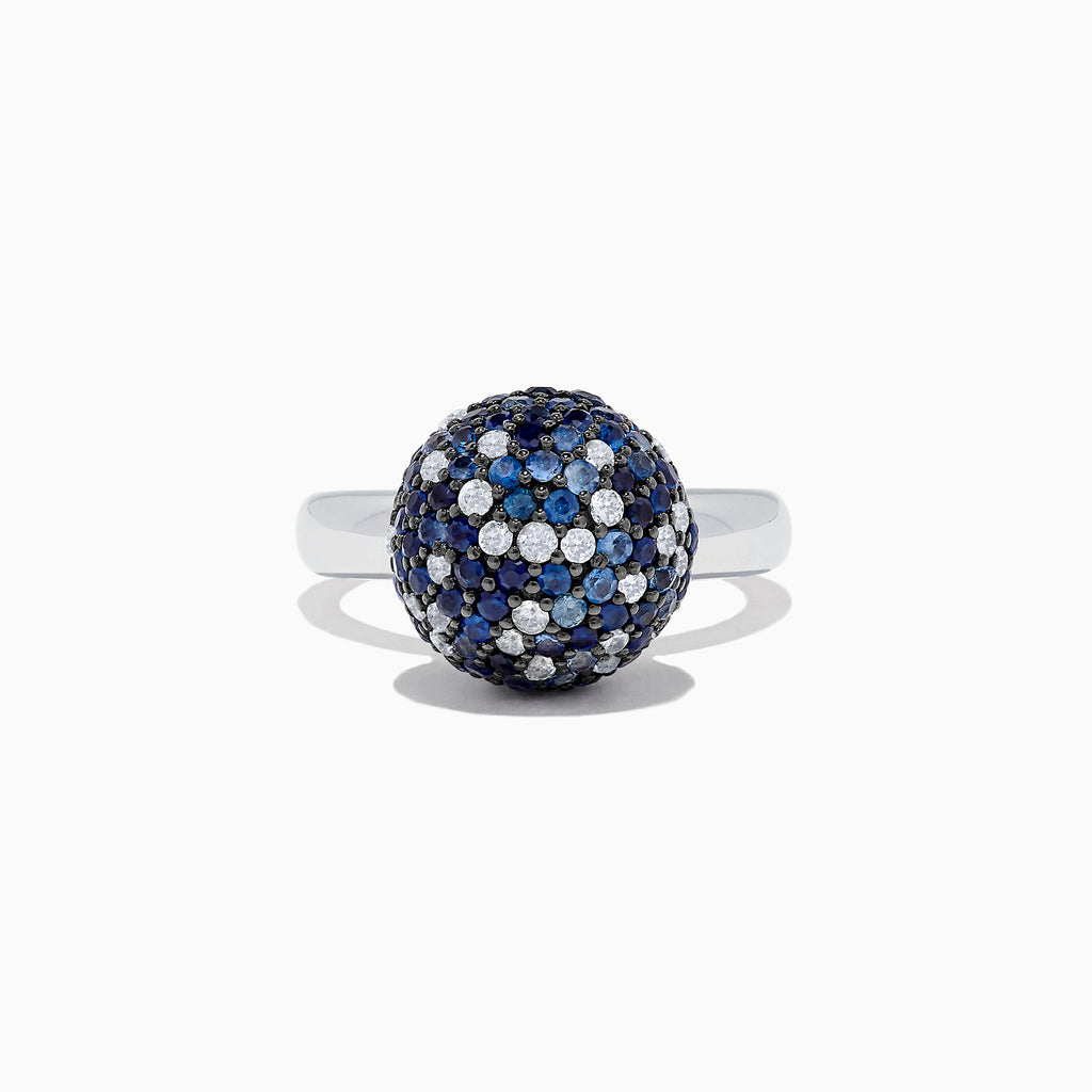 Effy Splash Sterling Silver Blue Sapphire Ball Ring, 2.73 TCW