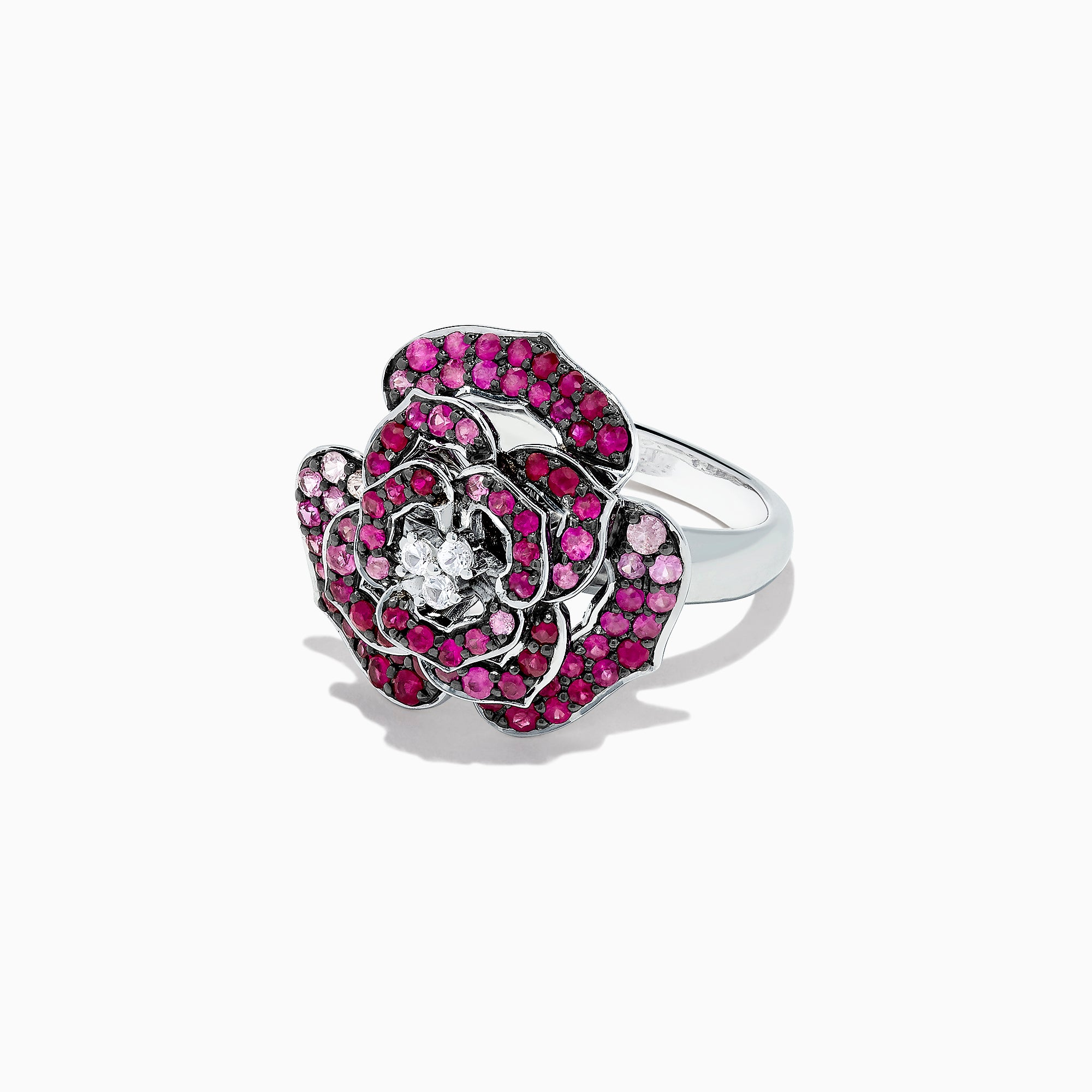 Effy Splash Sterling Silver Pink Sapphire and Ruby Flower Ring, 1.60 TCW