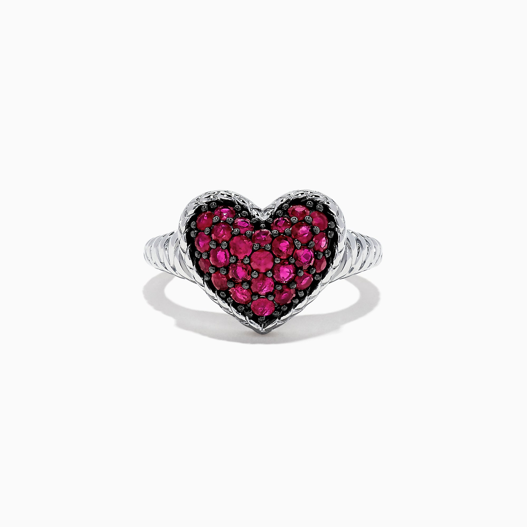 Effy 925 Sterling Silver Ruby Heart Ring, 1.02 TCW