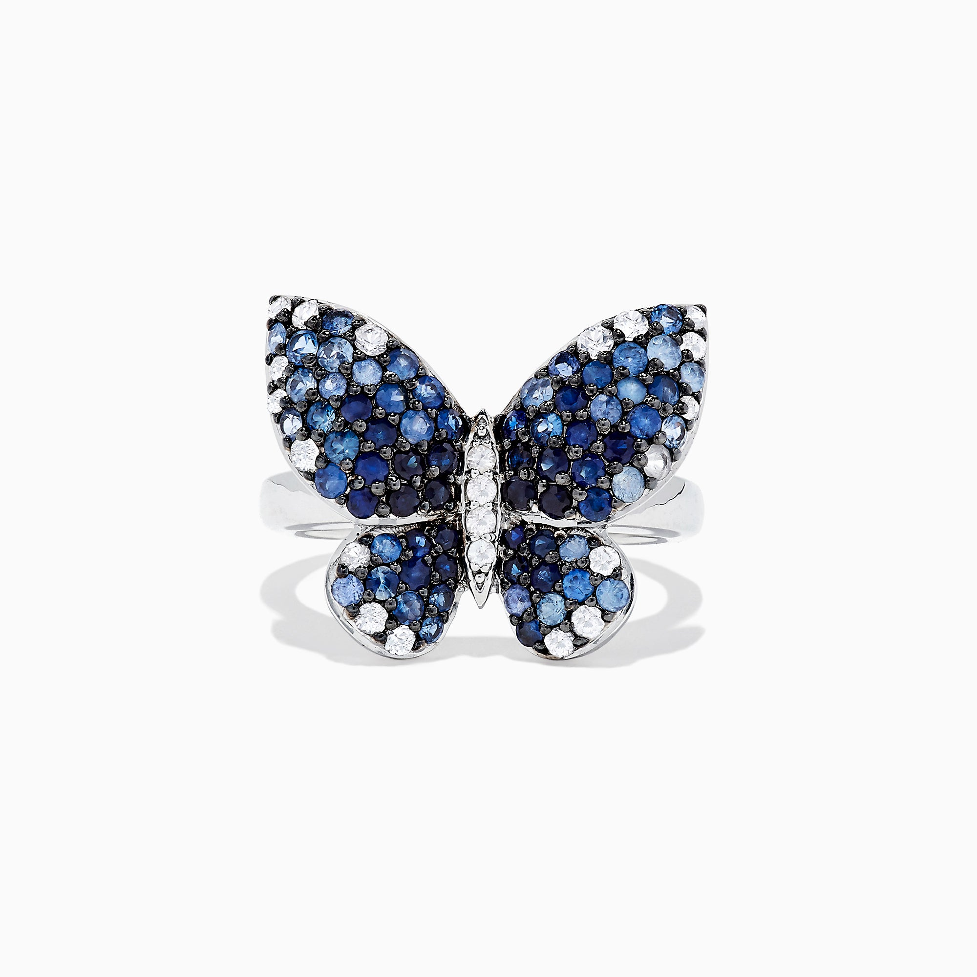 Effy Nature Sterling Silver Blue Sapphire Splash Butterfly Ring, 1.70 TCW