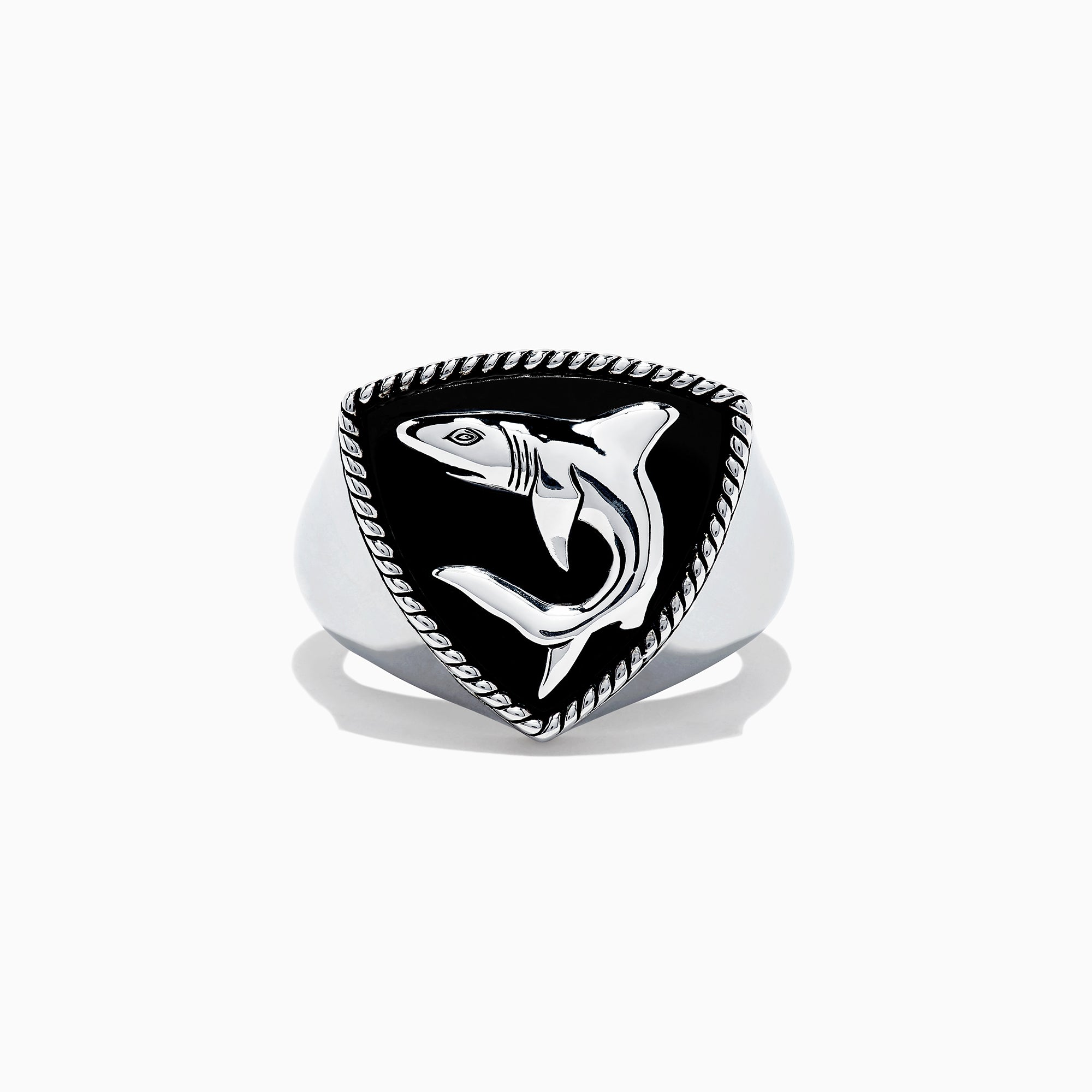 Effy Men's Sterling Silver Onyx Shark Ring, 3.50 TCW