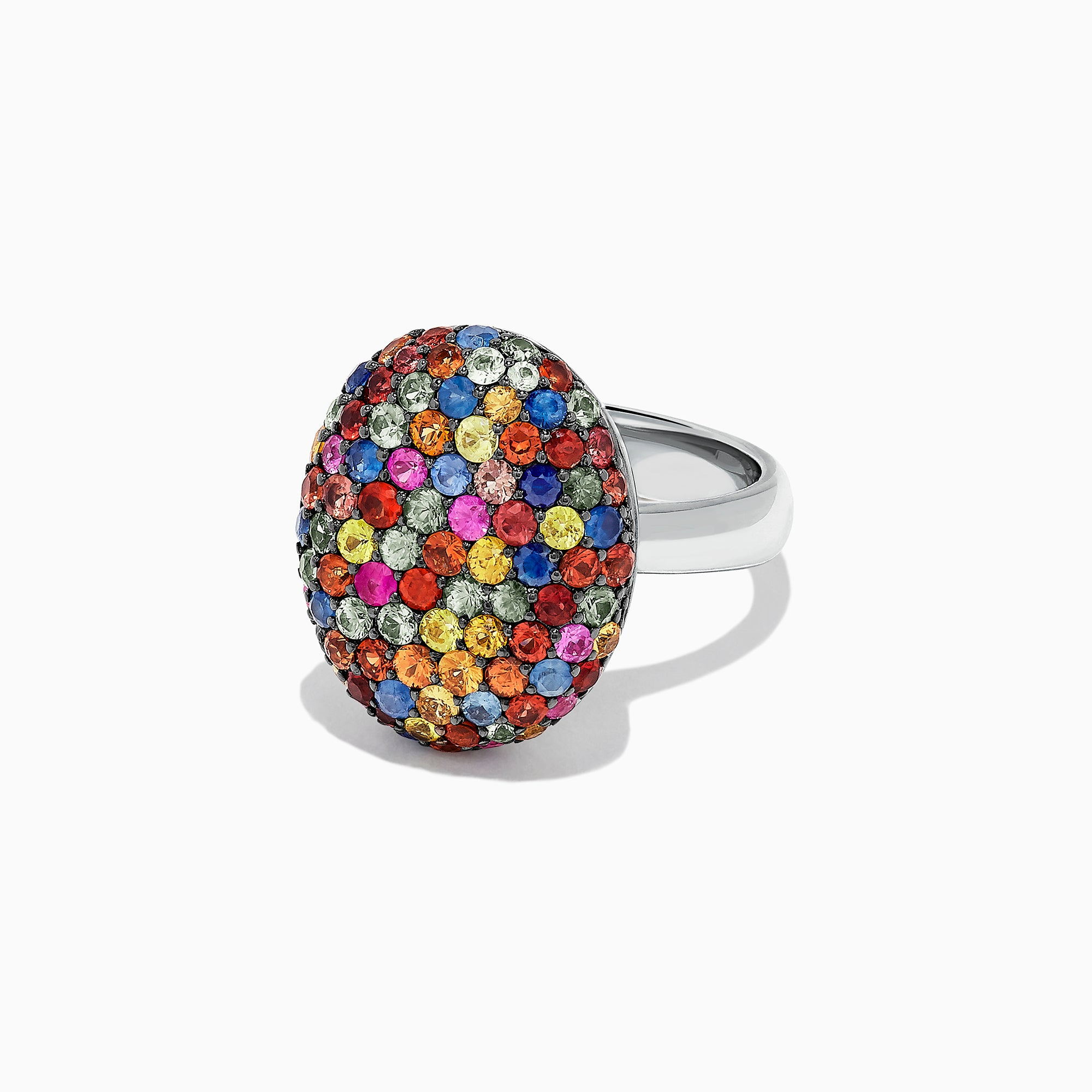 Effy Splash Sterling Silver Multi Sapphire Oval Ring, 3.10 TCW