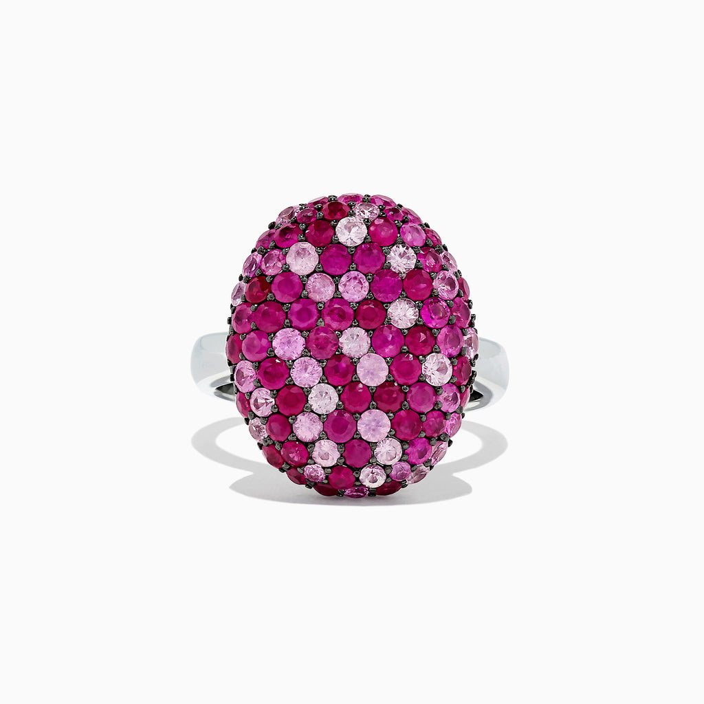 Effy Splash Sterling Silver Pink Sapphire and Ruby Oval Ring, 3.41 TCW