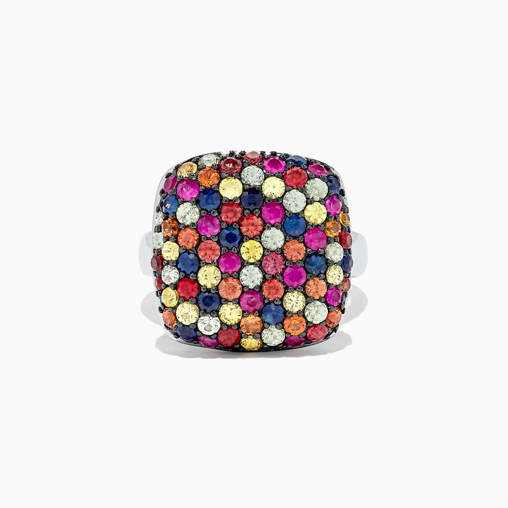 Effy Splash Sterling Silver Multi Color Sapphire Ring, 3.45 TCW