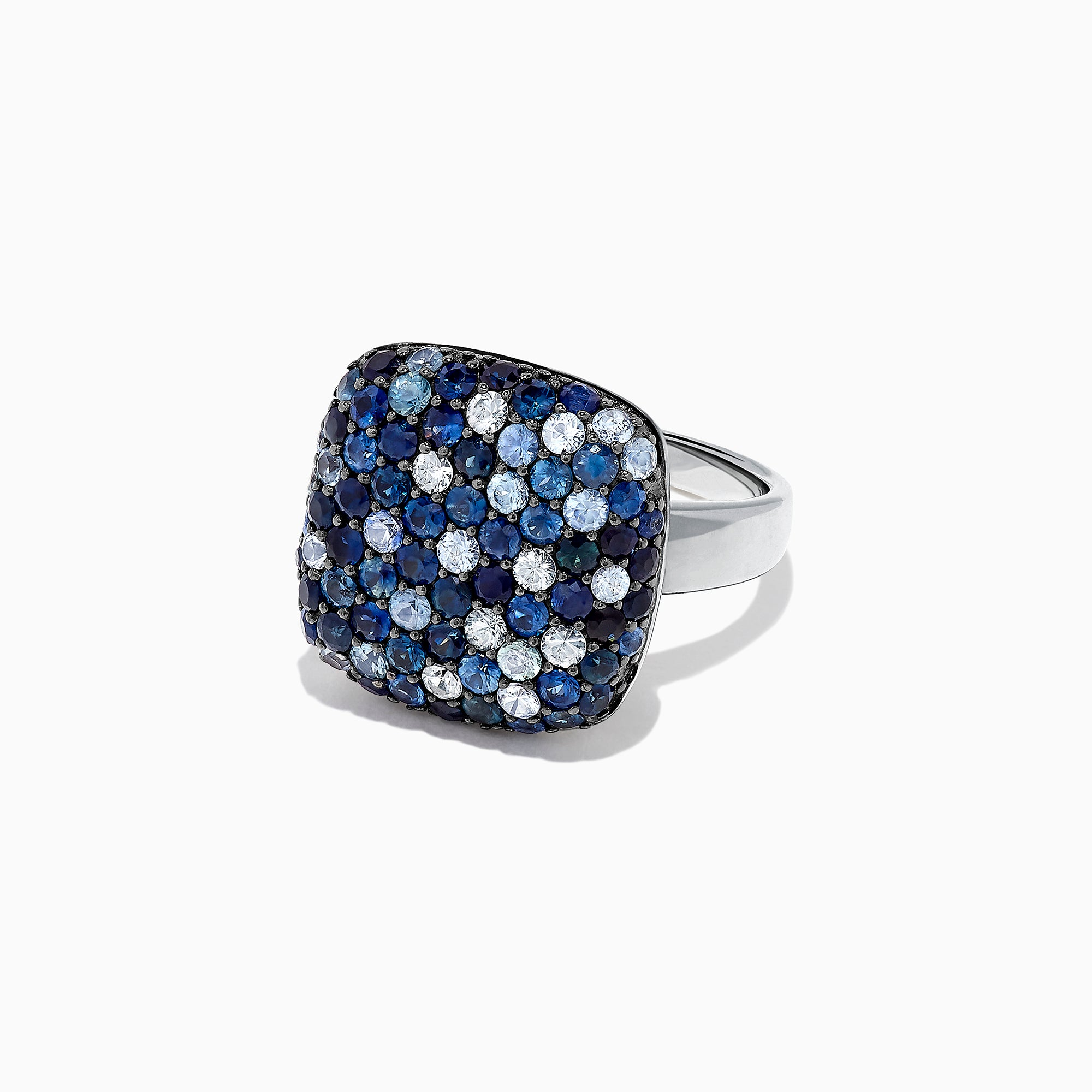 Effy Splash Sterling Silver Blue Sapphire Square Ring, 3.22 TCW