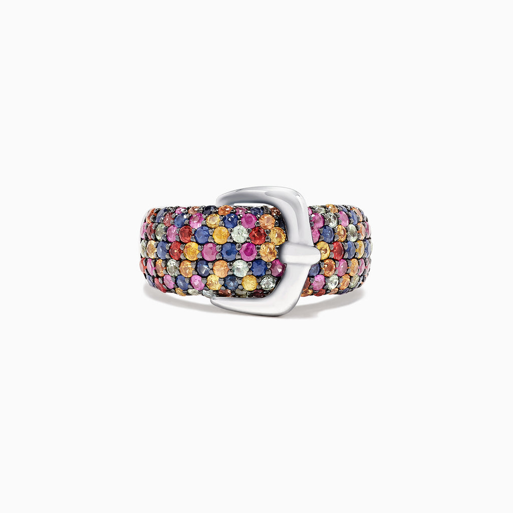 Effy Splash Sterling Silver Multi Sapphire Buckle Ring, 2.49 TCW