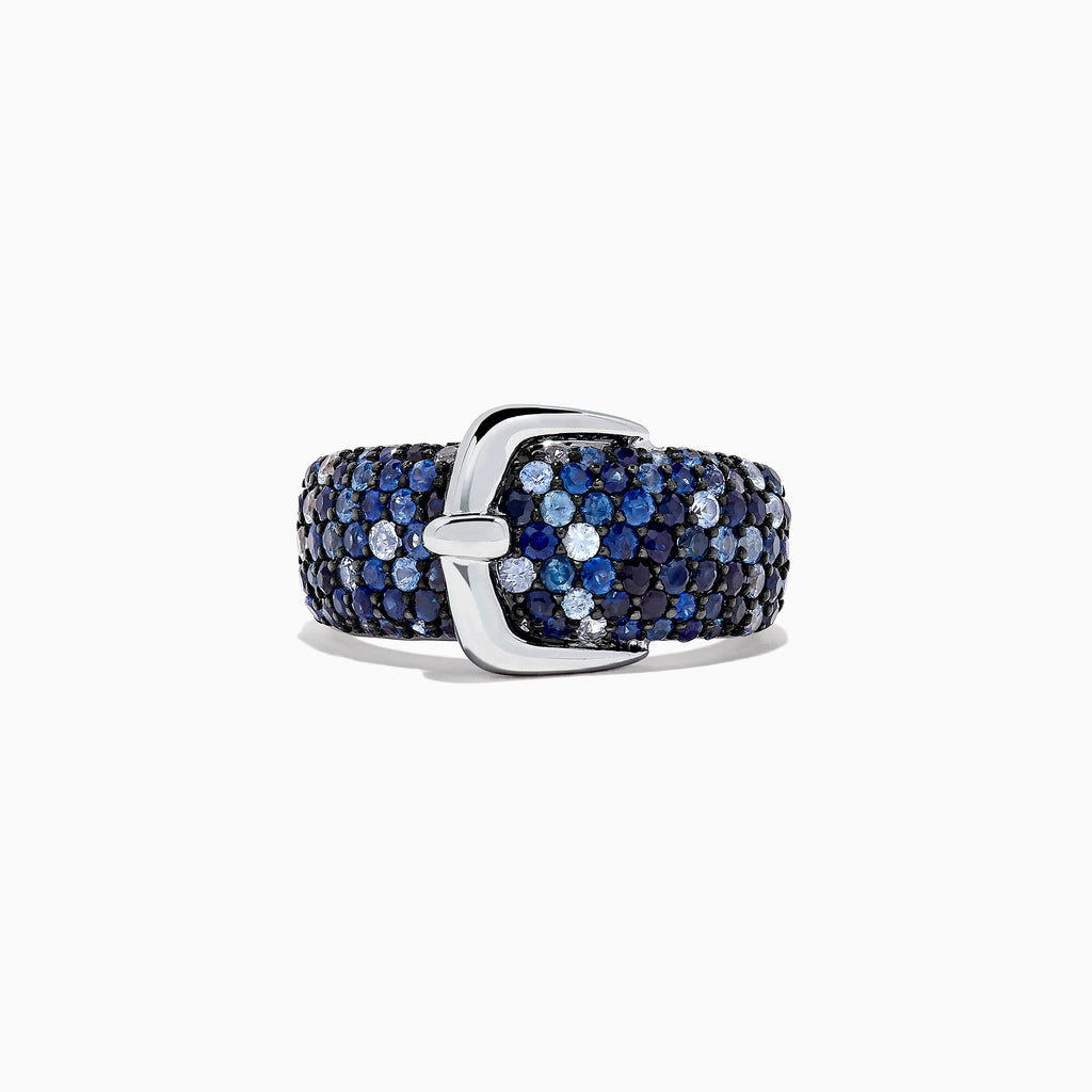 Effy Splash Sterling Silver Blue Sapphire Buckle Ring, 2.41 TCW