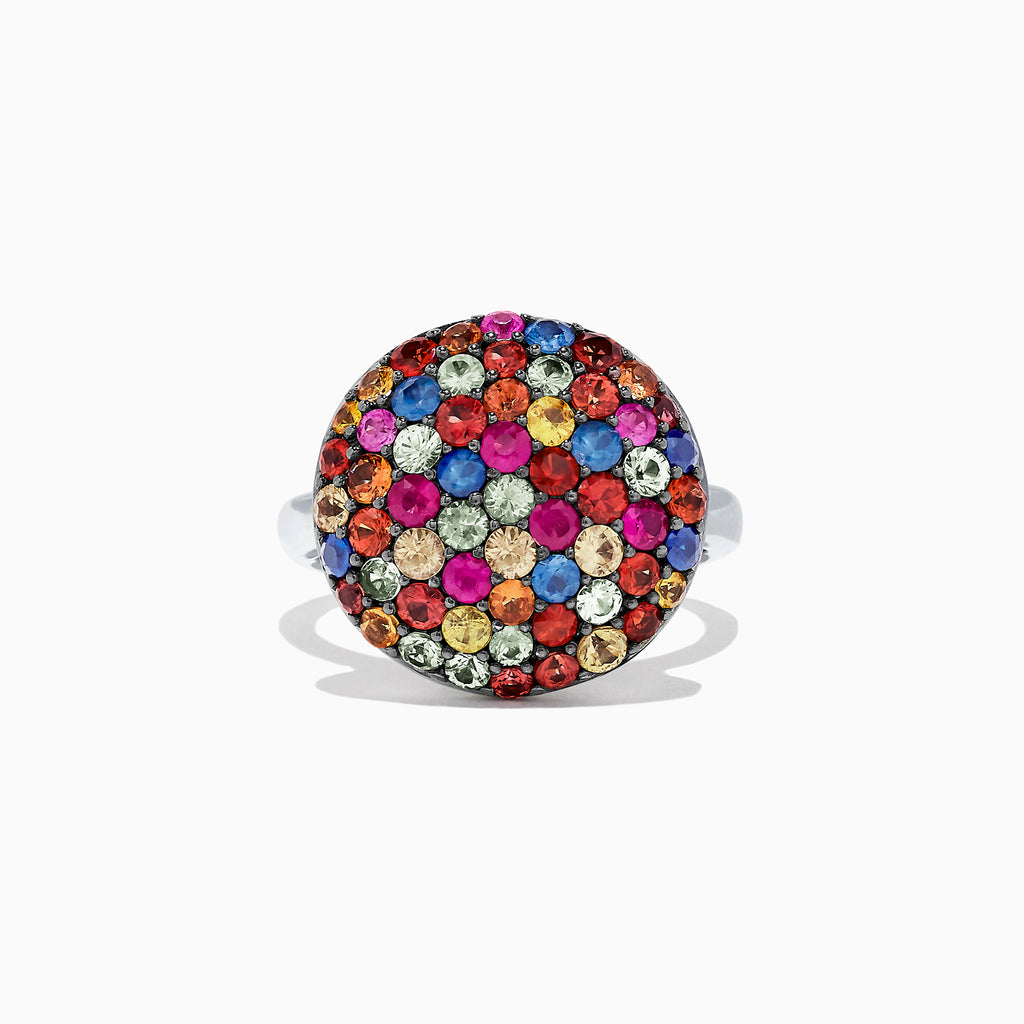 Effy Splash Sterling Silver Multi Sapphire Circle Ring, 2.99 TCW