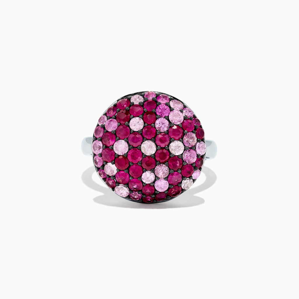 Effy Splash Sterling Silver Pink Sapphire and Ruby Circle Ring, 2.95 TCW
