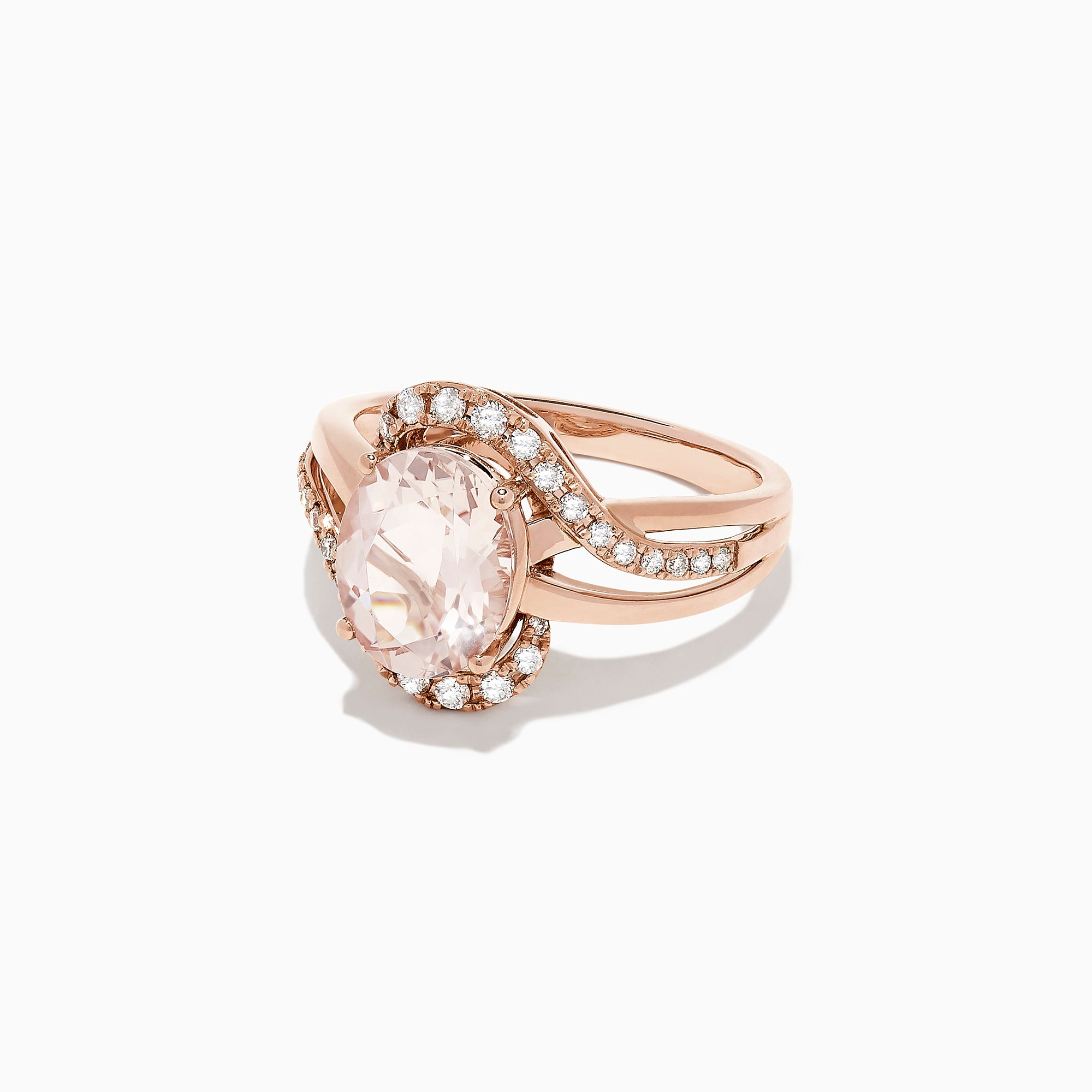 Effy 14K Rose Gold Morganite and Diamond Ring, 2.69 TCW